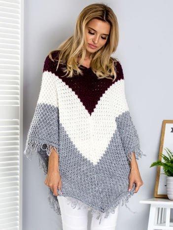 Bordowo-szary sweter poncho tricolor