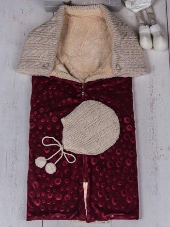 Bordowy 2-częściowy zestaw becik śpiworek niemowlęcy ocieplony futerkiem z ocieploną czapeczką