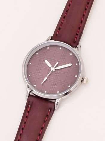 Bordowy Damski Zegarek Z Dżetami