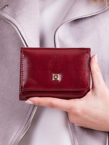 Bordowy damski portfel z ekoskóry