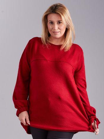 Bordowy damski sweter PLUS SIZE