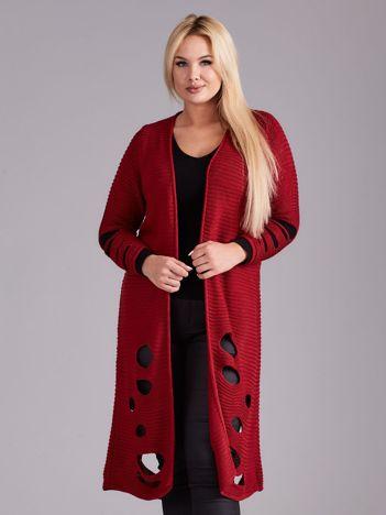 Bordowy długi sweter z dziurami PLUS SIZE