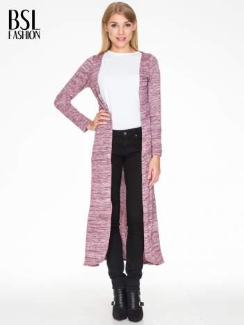 Bordowy melanżowy długi sweter typu kardigan