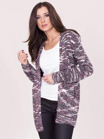 Bordowy melanżowy sweter bez zapięcia