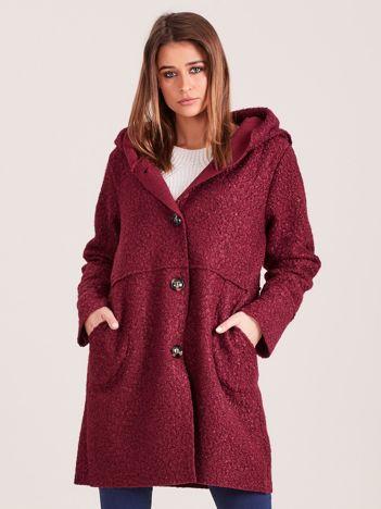 Bordowy płaszcz boucle z kapturem