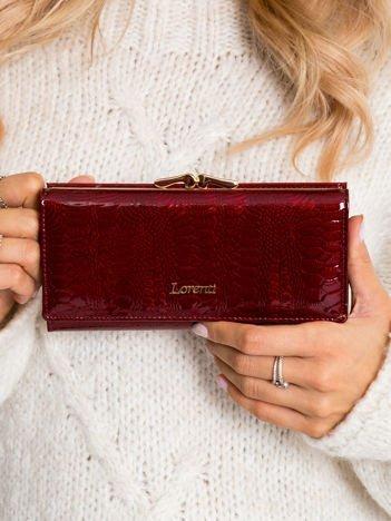 Bordowy skórzany portfel damski