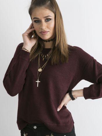 Bordowy sweter damski z suwakiem