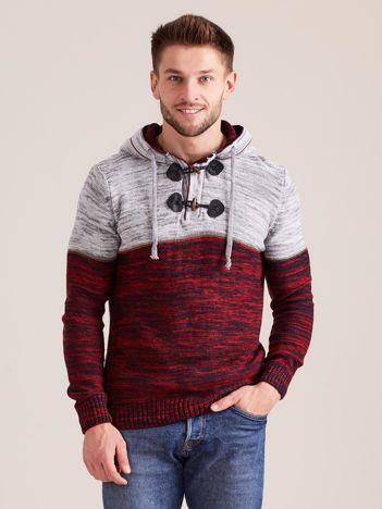 Bordowy sweter męski z kapturem