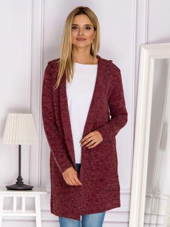 Bordowy sweter ze sznurowaniem z tyłu
