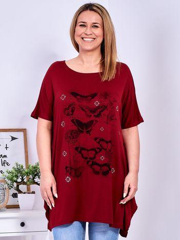 Bordowy t-shirt damski w motyle PLUS SIZE