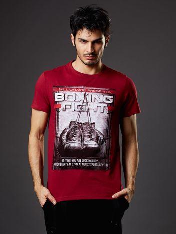 Bordowy t-shirt męski z bokserskim nadrukiem