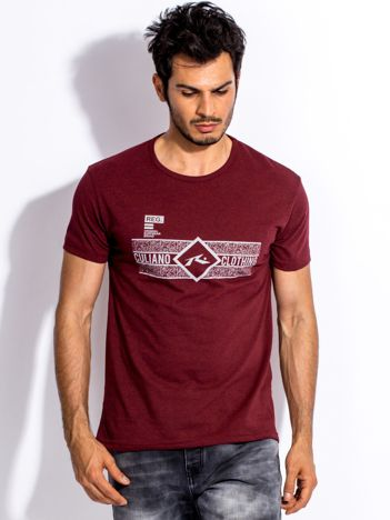 Bordowy t-shirt męski z poziomym nadrukiem