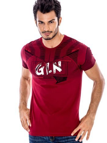 Bordowy t-shirt męski z wypukłym nadrukiem