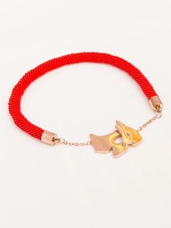 Bransoletka damska czerwono złota Zapięcie w postaci złotego pieska z kością Napis LOVE