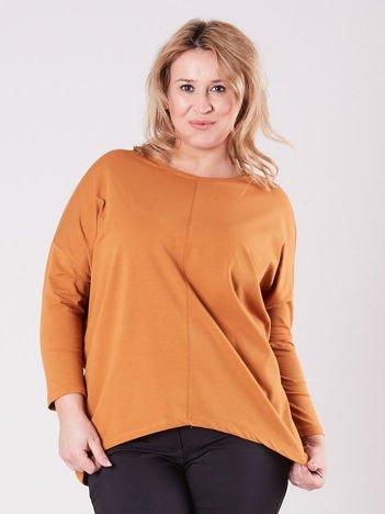 Brązowa asymetryczna bluzka damska PLUS SIZE