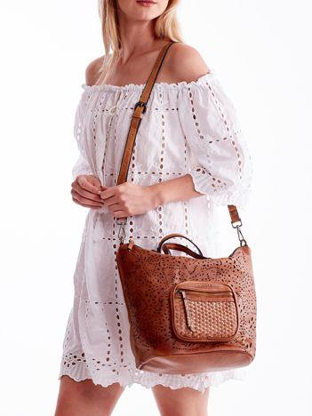 Brązowa ażurowa torba z plecioną kieszonką