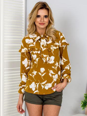 Brązowa bluzka w kwiaty z wiązaniem