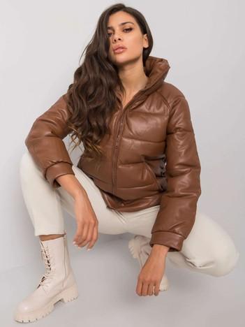 Brązowa kurtka zimowa ze skóry ekologicznej Maxine