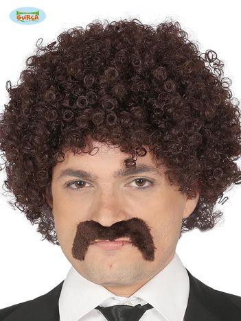 Brązowa peruka z wąsami
