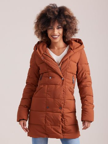 Brązowa pikowana kurtka zimowa