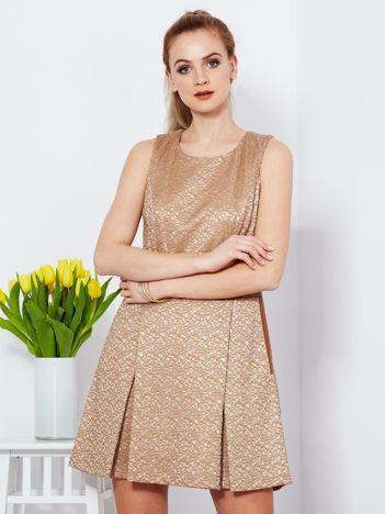 Brązowa rozkloszowana sukienka ze skórzanymi wstawkami