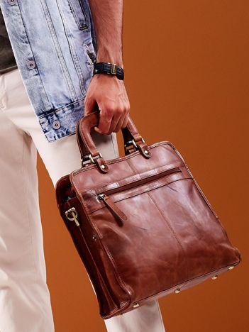 Brązowa skórzana torba męska do ręki