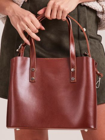 Brązowa skórzana torebka do ręki z paskiem