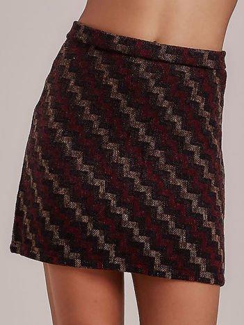 Brązowa spódnica mini w geometryczny wzór