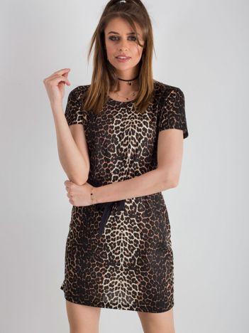 Brązowa sukienka w panterkę