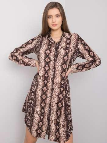 Brązowa sukienka we wzory Venice RUE PARIS