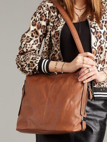 Brązowa torba damska z suwakami
