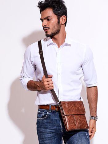 Brązowa torba męska z odpinanym paskiem