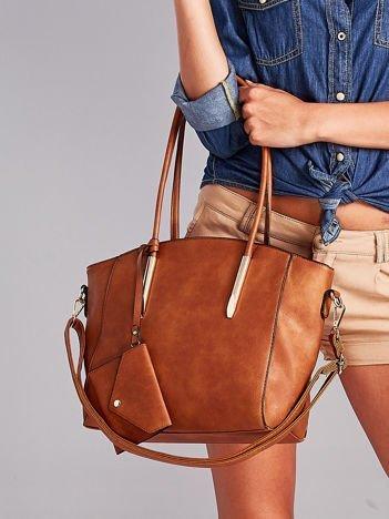 Brązowa torba shopper bag z ozdobnymi okuciami