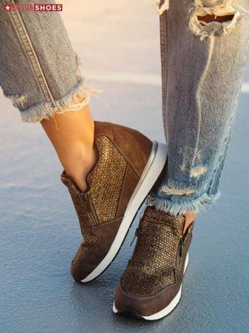Brązowe buty sportowe BIG STAR z ozdobną wstawką w pepitkę i suwaczkami po obu stronach