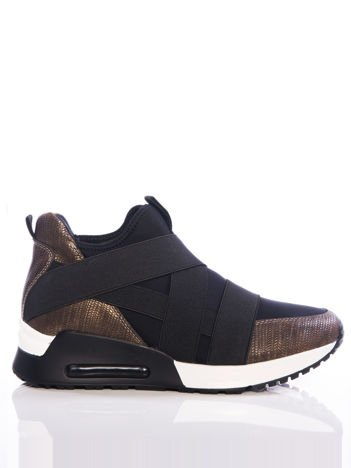 Brązowe buty sportowe Evento z czarnymi elastycznymi gumkami na cholewce, na sprężystej podeszwie