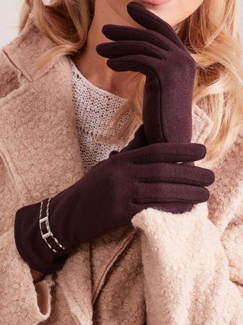 Brązowe klasyczne rękawiczki z klamerką