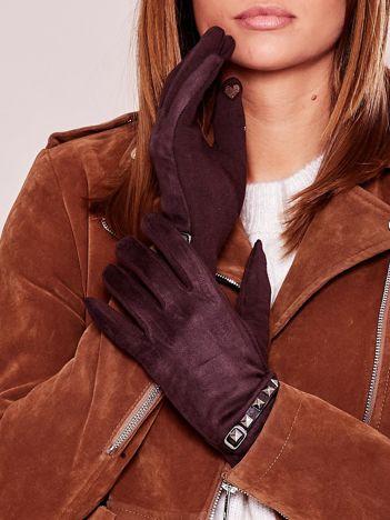 Brązowe miękkie rękawiczki ocieplane z ćwiekami