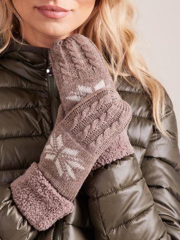 Brązowe ocieplane rękawiczki z jednym palcem