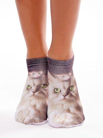 Brązowe stopki damskie z nadrukiem 3D z kotem