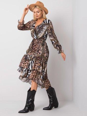 Brązowo-czarna sukienka Karmen OCH BELLA