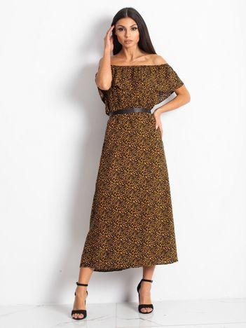 Brązowo-czarna sukienka Pantiere