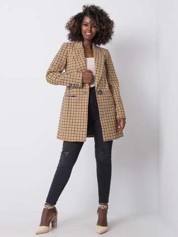Brązowo-czarny płaszcz w pepitkę Adelia