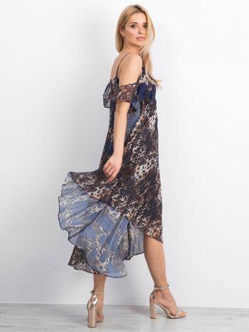 Brązowo-granatowa sukienka Lounging