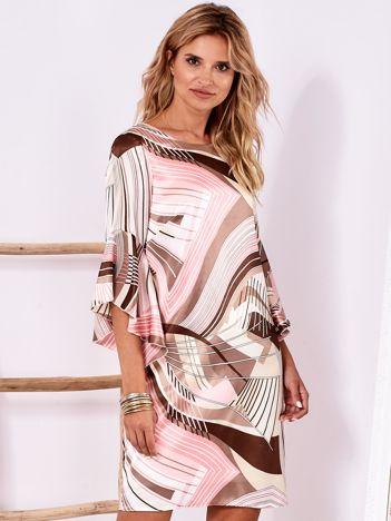 Brązowo-różowa wzorzysta sukienka z szerokimi rękawami