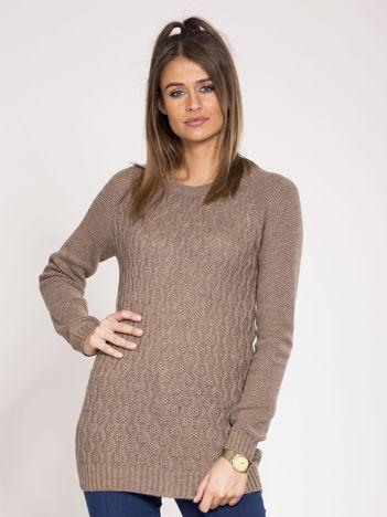 Brązowy damski sweter