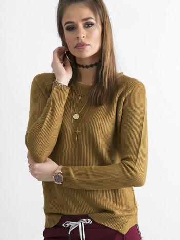 Brązowy damski sweter z dzianiny