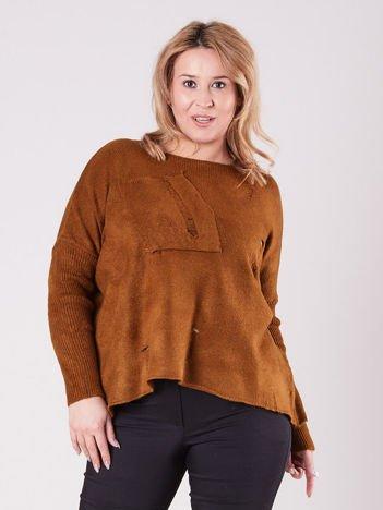 Brązowy luźny sweter PLUS SIZE