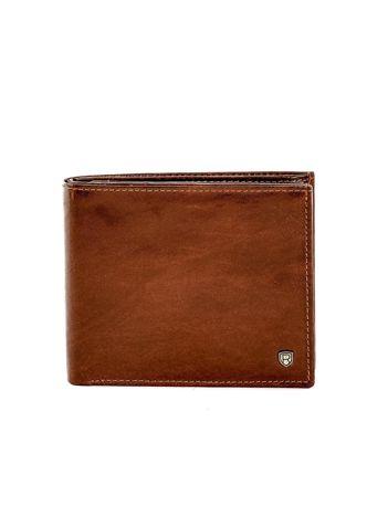 Brązowy mały portfel elegancki ze skóry