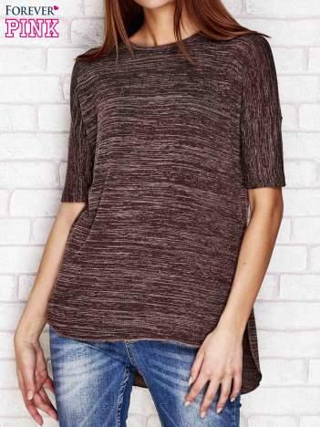 Brązowy melanżowy t-shirt z dłuższym tyłem