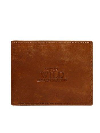 Brązowy skórzany portfel męski bez zapięcia